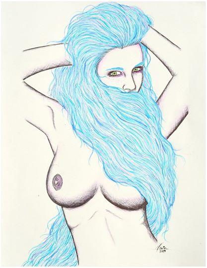 Long blue hair by alejandro Pinpon